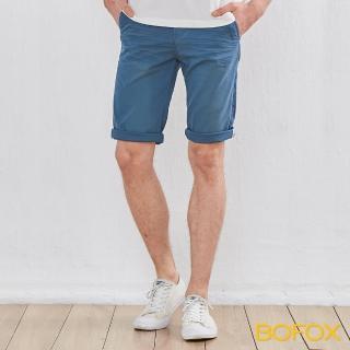 【BOFOX 寶狐】抓皺刷色休閒短褲(淺藍)