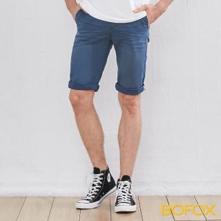 【BOFOX 寶狐】抓皺刷色休閒短褲(深藍)
