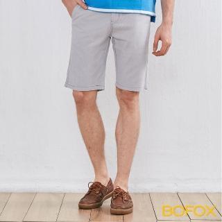 【BOFOX 寶狐】直條紋休閒短褲(淺灰)