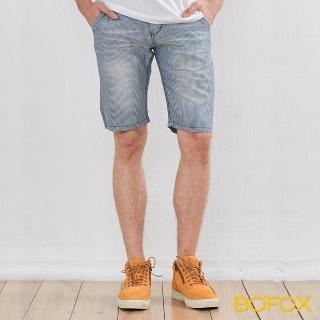 【BOFOX 寶狐】仿牛仔刷色休閒短褲(淺藍)