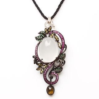 【寶石方塊】月白風清天然緬甸水沫玉項鍊-925純銀飾
