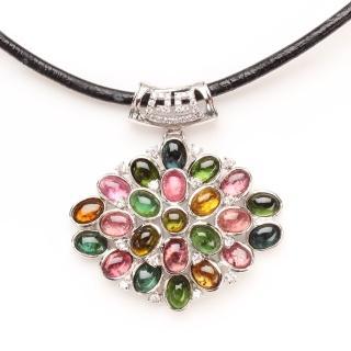 【寶石方塊】如花似朵天然七彩碧璽墬子-925純銀飾