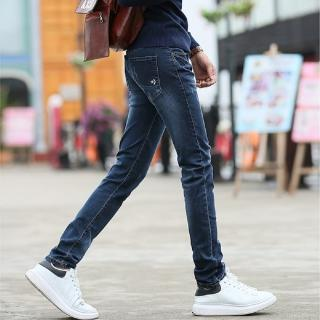【NBL-NEWBOYLONDON】L03321藍色韓版彈力修身小直筒褲(窄版修身小腳長褲)