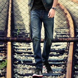 【NBL-NEWBOYLONDON】L03318藍色韓版刷洗直筒褲(刷白貓鬚褶皺直筒褲)