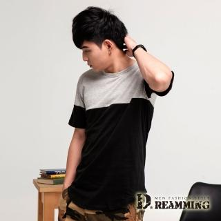 【Dreamming】美式休閒拼色圓弧下擺長版短T(共三色)