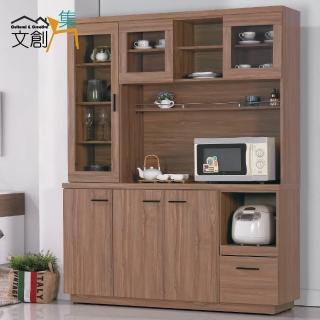 【文創集】夏比堤  5尺柚木紋餐櫃/收納櫃(上+下座)