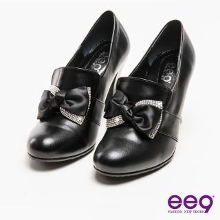 【ee9】心滿益足-手工真皮璀璨水鑽蝴蝶結高跟鞋*黑色(跟鞋)