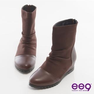 【ee9】完美時尚-經典異材質拼接素面造型拉鏈短靴*咖啡色(短靴)