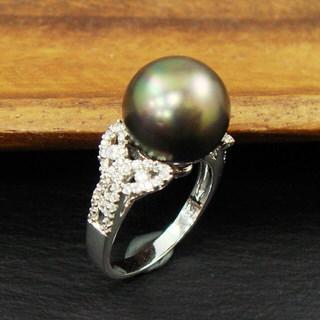 【蕾帝兒珠寶】雅致黑色貝殼珍珠戒指