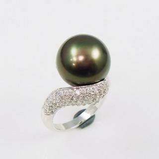 【蕾帝兒珠寶】貴氣黑色貝殼珍珠戒指