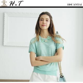 【玄太】優雅金蔥連身袖針織上衣(淺綠)