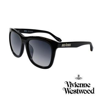 【Vivienne Westwood 英國 太陽眼鏡】龐克經典LOGO流線造型(AN84501_黑)