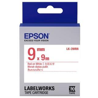 【EPSON】標籤機色帶白底紅字/9mm(LK-3WRN)