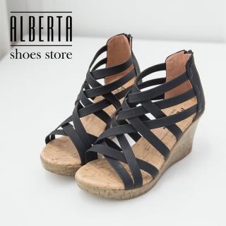 【Alberta】羅馬交叉楔型高跟涼鞋 後拉鍊後跟軟木塞質感 防水台 前高2CM後高8CM(黑色)