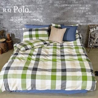 【R.Q.POLO】綠灰格 水洗棉系列-雙人標準薄被套床包四件組(5X6.2尺)