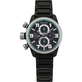 【elegantsis】Army 叢林戰鬥強悍三眼計時腕錶-IP黑(ELJF48KS-OB02MA)