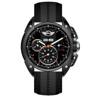 【MINI Swiss Watches】英倫風範運動計時腕錶-灰x黑(MINI-06)