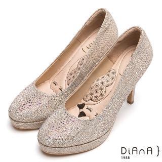 DIANA 超厚切LADY款--奢華閃耀水鑽時尚跟鞋-金