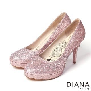DIANA 超厚切LADY款--奢華閃耀水鑽時尚跟鞋-粉