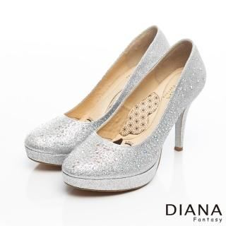 DIANA 超厚切LADY款--奢華閃耀水鑽時尚跟鞋-銀