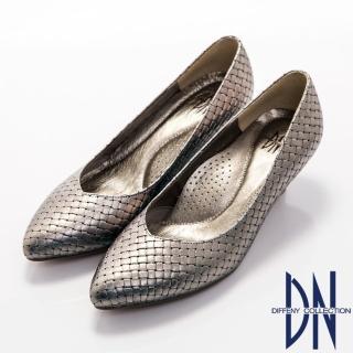 【DN】都會雅致 MIT珠光素面編織真皮跟鞋(銀紫)