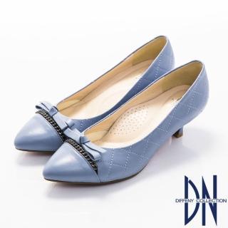 【DN】優雅簡約 MIT全真皮蝴蝶結菱紋跟鞋(藍紫)