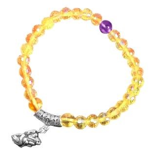 【A1寶石】純銀貔貅-黃水晶紫水晶手鍊-強力招財旺貴人運(含開光加持)