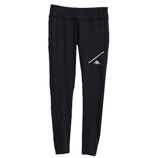 【KAPPA】義大利 時尚舒適女慢跑KOOL DRY緊身褲 合身版(黑)