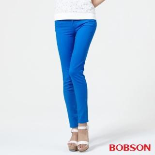 【BOBSON】女款低腰膠原蛋白彩色小直筒褲(寶藍8125-53)