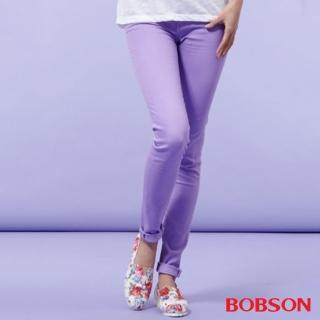 【BOBSON】女款高腰膠原蛋白彩色小直筒褲(紫8126-61)