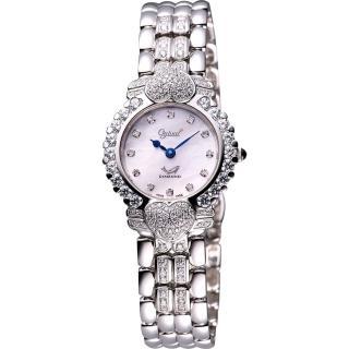 【Ogival】愛其華 心心相印真鑽腕錶-銀(380-082DLW)