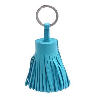 【HERMES】流蘇造型山羊皮鑰匙圈手袋吊飾(粉藍色H327108-BLUE)