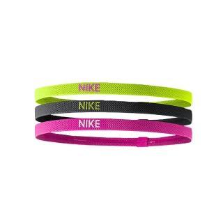【NIKE】3條入髮帶 -頭帶 慢跑 路跑 瑜珈(螢光黃黑粉)