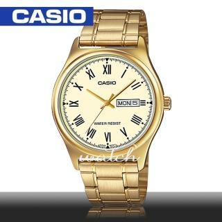 【CASIO 卡西歐】燦金大方錶款_不銹鋼指針男錶(MTP-V006G)