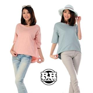 【雪莉亞】韓國極簡單素色棉T(素面純色前短後長T)