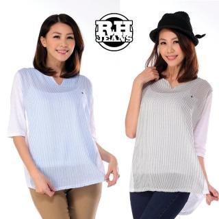 【雪莉亞】韓國極簡單麻棉直線條上衣(拼接條紋親膚上衣)