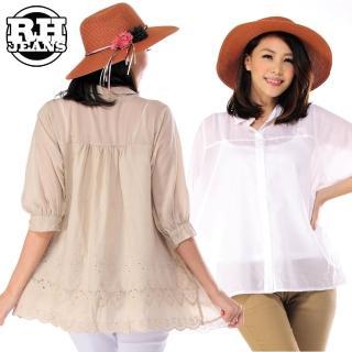 【雪莉亞】韓國蕾絲摟空系列棉麻上衣(棉麻傘狀蕾絲下擺長版上衣)