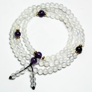 【A1寶石】3A頂級-紫水晶/白水晶108念珠--富貴化煞招財開運-名師指定款(含開光加持)