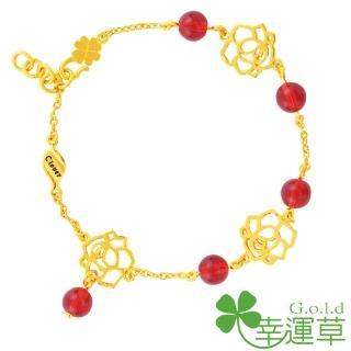 【幸運草clover gold】玫瑰香頌 水晶+黃金 手鍊