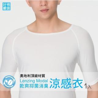 【好棉嚴選】瞬間!涼感衣 冰礦咖啡抑菌消臭 透氣清爽 抗UV防曬男法式短袖上衣-白色(單件組)