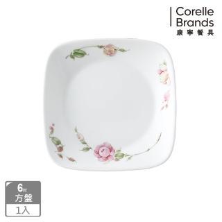 【美國康寧 CORELLE】田園玫瑰方形6吋平盤(2206)