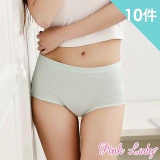 【PINK LADY】親膚棉質透氣包臀中高腰內褲801(10件組)