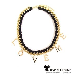 【RABBIT DUKE】個性緞帶金屬鎖鏈拼接LOVE ME字樣項鍊