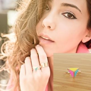 【RABBIT DUKE】個性可愛繽紛色彩金字塔型戒指