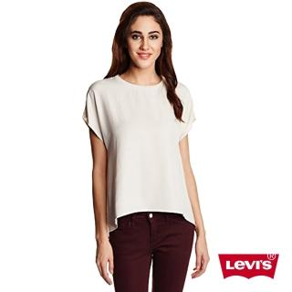 【Levis】女款米色素面短袖T恤  天絲Lyocell