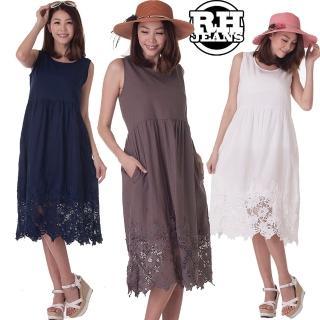 【雪莉亞】韓國洋裝(拼接蕾絲無袖長洋)
