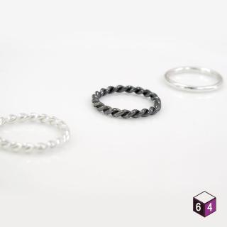 【ART64】戒指 純銀戒指 套組共3只 可搭配不同款式 麻花 圓線 黑麻花