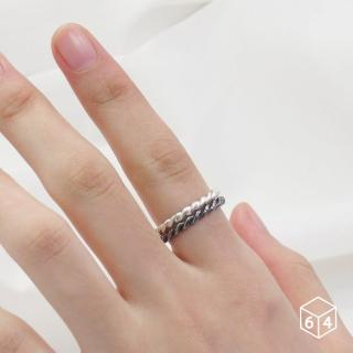 【ART64】戒指 麻花戒+黑麻花戒  麻花 戒指  925純銀戒指 雙件組