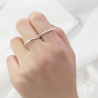 【ART64】戒指 圓線戒+麻花戒 麻花 戒指 925純銀戒指 雙件組