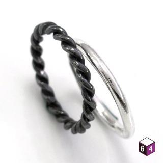 【ART64】戒指 圓線戒+黑麻花戒 麻花 戒指 925純銀戒指 雙件組